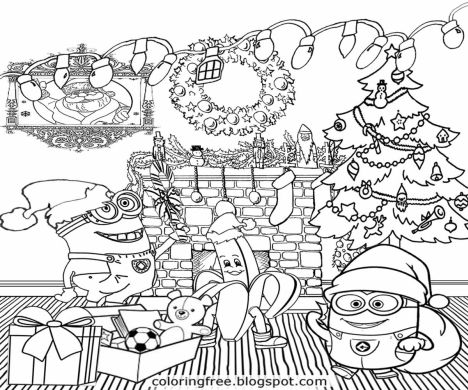 Minions christmas coloring pages part 1 for Minion christmas coloring pages