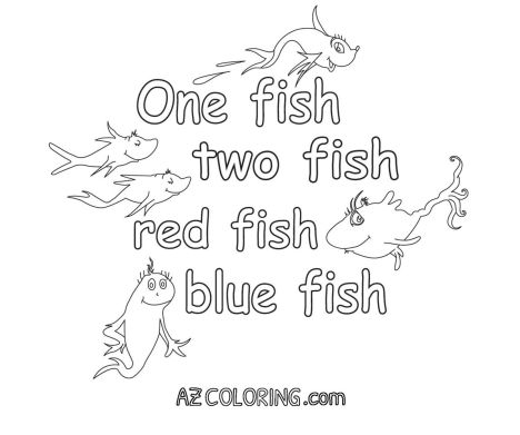 One fish two fish red fish blue fish coloring pages part 1 for One fish two fish red fish blue fish coloring page