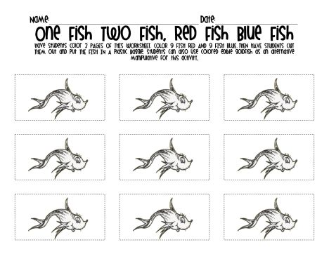 One Fish Two Fish Red Fish Blue Fish Coloring Pages 14