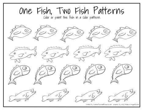 One fish two fish red fish blue fish coloring pages part 2 for One fish two fish red fish blue fish coloring page