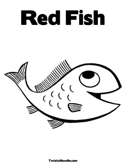 One fish two fish red fish blue fish coloring pages part 1 for One fish two fish coloring page