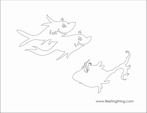 One Fish Two Fish Red Fish Blue Fish Coloring Pages 4