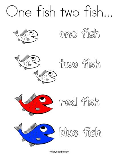 One Fish Two Fish Red Fish Blue Fish Coloring Pages 7